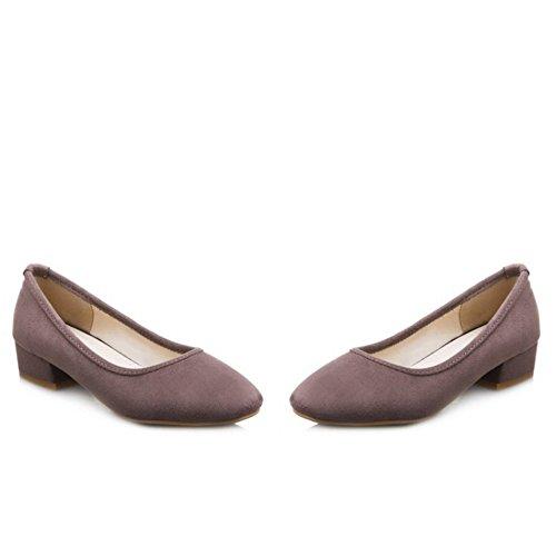 COOLCEPT Mujer Basic Cerrado Tacon Bajo Bombas Zapato Sin Cordones Zapatos Gris