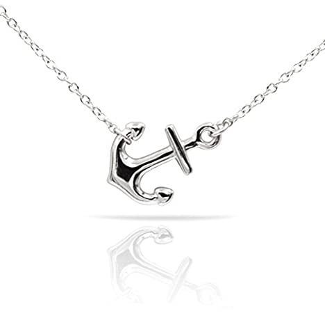 Sterling Silver Pendant Necklace with Polished Sideways Anchor Charm, Plain 925 Silver, Adjustable Chain Length 16