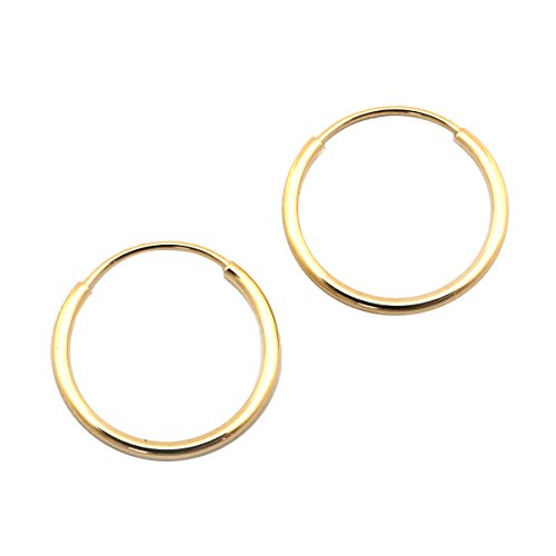 14k Yellow Gold 1mm Endless Hoop Earrings, 12mm (1/2