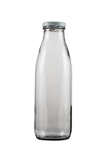 PrestoWare GBM27, 0.82L / 27.7-ounce Clear Glass Milk Bottle with Lid, Vintage Style Bottle for Home Brewing, Milk Juice Water Oil Vinegar Glass Bottle with Metal Cover (1) ()