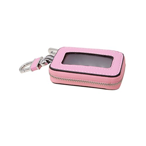 Keeping Universal Vehicle Car Smart Key Case Remote Fob Case Holder Keychain Ring Case Bag with Zipper Closure (Pink)