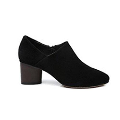 Gris Negro Mujer Botines auténtico Botas for HSXZ Negro Zapatos US8 Señaló Talón Chunky Invierno Toe de de ZHZNVX Bootie Botines Casual CN39 UK6 Cuero UE39 tHU6qw