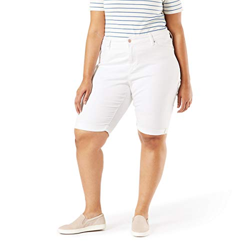 Signature by Levi Strauss & Co. Gold Label Women's Mid-Rise Skinny Shorts, White Dove, 16 (Levis Bermuda Shorts)
