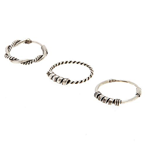 Claire S Girl S Sterling Silver Bali Braided Nose Rings 3 Pack
