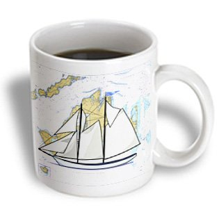 3dRose mug_214254_2 Print of Nautical Map Of Martha's Vineyard With Sailboat - Ceramic Mug, ()