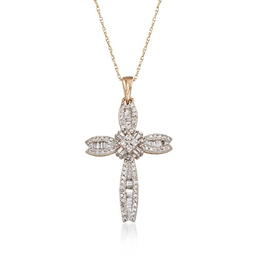 - Ross-Simons 0.40 ct. t.w. Baguette and Round Diamond Cross Pendant Necklace in 14kt Yellow Gold