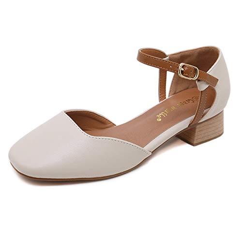 HRCxue HRCxue HRCxue High Heels Fashion Round Head Flat Retro mit Schnalle Damen Schuhe 764fcd