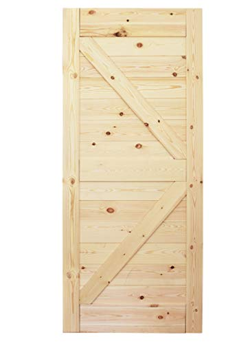 DIYHD 38inX84in Pine Knotty Sliding Barn Wood Door Slab Two-Side Horizontal Arrow Shape Barn Door Slab (Disassembled Unfinished)