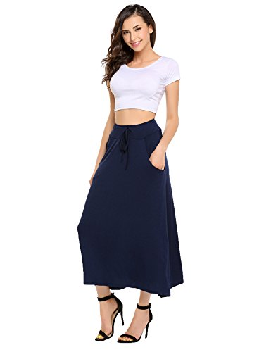 Women African Casual Maxi Skirt Flared Skirt Dark Blue