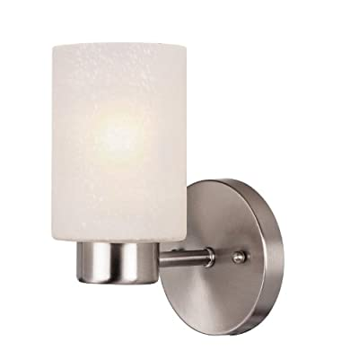 Westinghouse Lighting 6227800 Sylvestre One-Light Indoor Wall Fixture, Brushed Nickel Finish with Frosted Seeded Glass, 1, Bn
