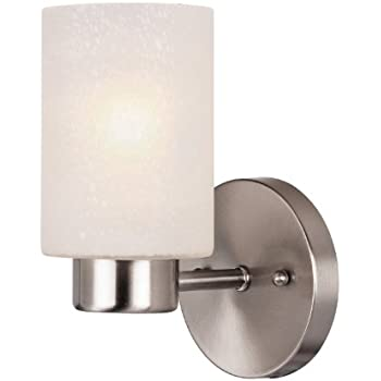 Westinghouse 6227800 Sylvestre One-Light Interior Wall Fixture, Brushed Nickel Finish with Frosted Seeded Glass