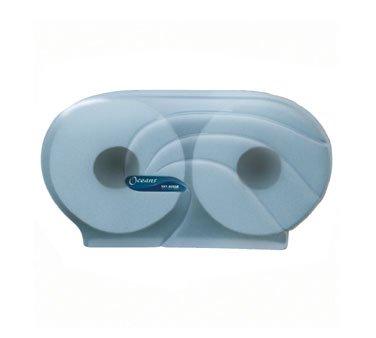 "San Jamar R4090 Oceans Twin 9"" Jumbo Bath Tissue Dispenser, 19"" Width x 12"" Height x 5-1/4"" Depth, Arctic Blue"