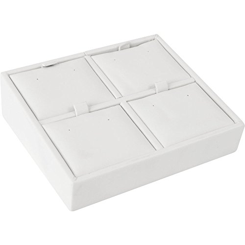 "Gunther Mele DA28D04PESC Pierced Earring Tray, 4 Places, 4-5/8"" x 4"" x 1-1/2"" Size, Chalk White (Pack of 2)"