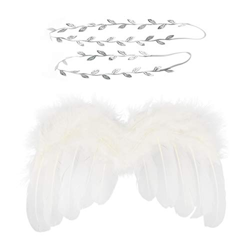Wolken Newborn Baby Angel Feather Wing with Leaves Halo Headband Set Photo Props Outfit Costume ()