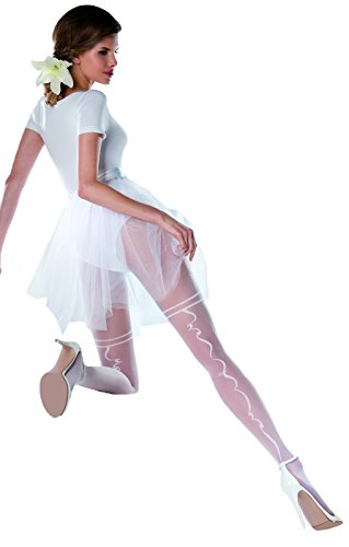 Wedding Bridal Collection Fancy Patterned White Tights for Women Pantyhose 20 Denier