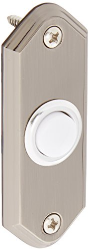 Solid Pewter Button - Heath Zenith SL-923-02 Traditional Decor Series Wired Lighted Push Button, Brass with Pewter Finish