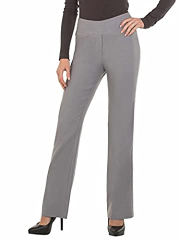 Womens Bootcut Stretch Dress Pants - Comfy Pull On Style, Red Hanger, Light Grey-M (Petite Office Pants)