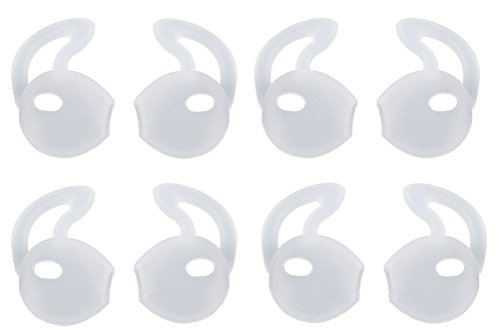 Lunies Apple Earpods Covers Anti-slip Silicone Soft Sport Earbud Tips for iPhone 6S / 6 Plus / 5S / 5C / 5 Comfortable 4 Pairs Clear (Silicone Cover)