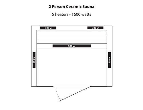 Radiant Saunas BSA2406 2-Person Deluxe Ceramic Infrared Sauna, 1-2