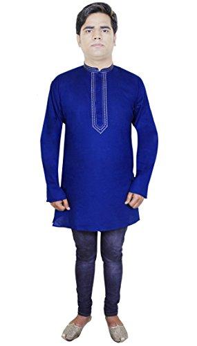 Mens bouton coton kurta up manches longues col montant polo yoga t-shirt
