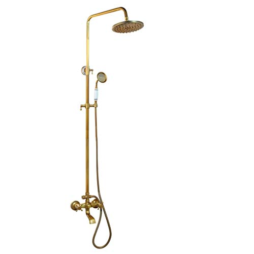 Solid Brass Bathroom Surface Mount Brass Rainfall Shower Faucet Set Antique Brass Handshower Bathtub Shower Faucets Polished Chrome B