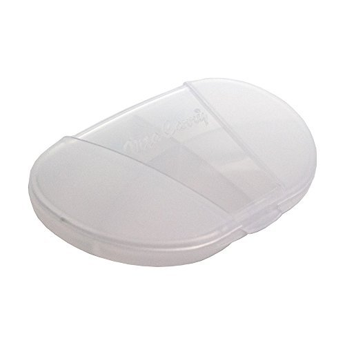 2 Clear Pockets - GMS Small 4 Compartment Pocket Pill Box Holds up to 20 Aspirin Size Tablets - 3.0