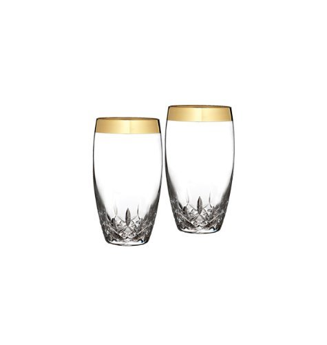Waterford Lismore Essence Wide Gold Band Highball Glass, Pair by Waterford ()