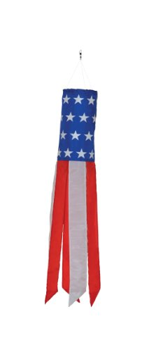 In the Breeze Stars and Stripes - 24 Inch Windsock - Patriotic Hanging Decoration - Red, White and Blue (Stripes Windsock)