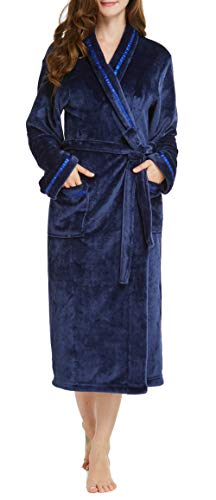 TIMSOPHIA Women Soft Fleece Robe with Satin Trim, Robes for Women Super Soft Plush Bathrobe