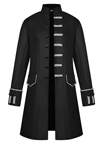 Zaxicht Medieval Jacket, Renaissance Steampunk Vintage Tailcoat Gothic Victorian Tuxedo Uniform Halloween Costumes Cosplay for Men (L(Bust:43.3