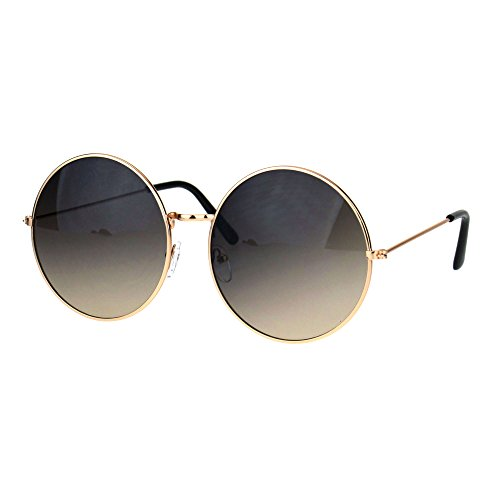Classic Oversize Joplin Style Hippie Round Circle Lens Sunglasses Gold Smoke - Circle Lenses