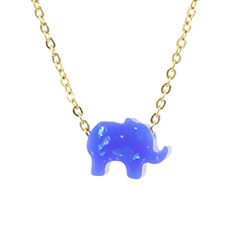 lightclub Kawaii Women Mini Elephant Shape Resin Animal Pendant Necklace Jewelry Gift - Blue Elegant Necklace for Women