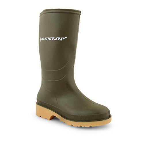 Jugendliche Jungen Mädchen Kinder Dunlop Gummistiefel für Regen Schneestiefel Wellies Schuhe Grün