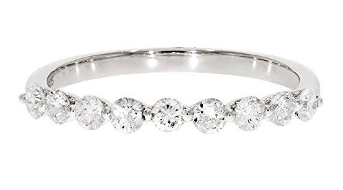 Brilliant Round Cut Diamond - Prism Jewel 0.50Ct Round Brilliant Cut Natural Diamond Wedding Band, 10k White Gold, Size 5.5