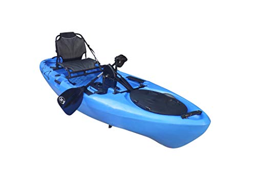 BKC PK11 10.6' Single Propeller Pedal Drive Fishing Kayak W/Rudder System, Paddle and Upright Back Support Aluminum Frame Seat Person Foot Operated Kayak