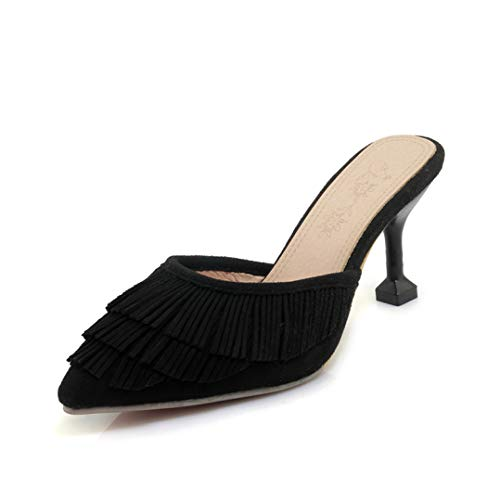 (AERICKON Women's Sexy Kitten Heel Mule Shoes Faux Suede Tassel Decor Soft Cushion Footbed Pointed Toe Slides Black)