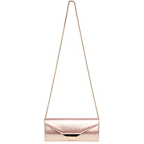 Metal with TA417 Decor Elegant Clutch Pink Envelope Bag Evening Satin Ladies CASPAR F7qfpx