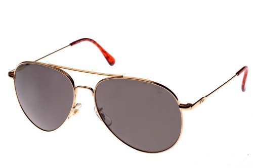 AO Eyewear American Optical - General Aviator Sunglasses with Wire Spatula Temple and Gold Frame, True Color Grey Glass Lens