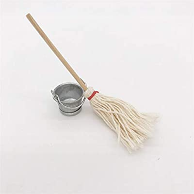 Xuways 1:12 Scale Miniature Vintage Mop with Bucket Set 2pcs Toys Dollhouse Kitchen Accessories for Kids Toddlers Pre-K: Toys & Games