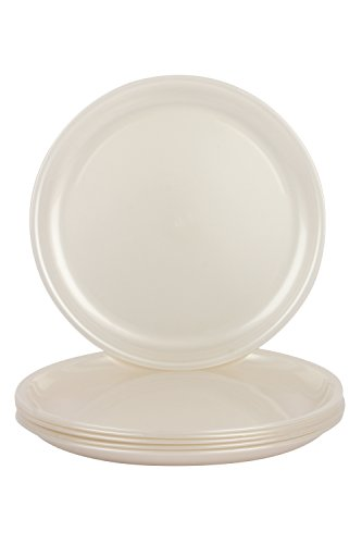 Day2Day Forever Pearl White Microwave Safe Dinner Plates Set Pack of 6  27x27x2 cm