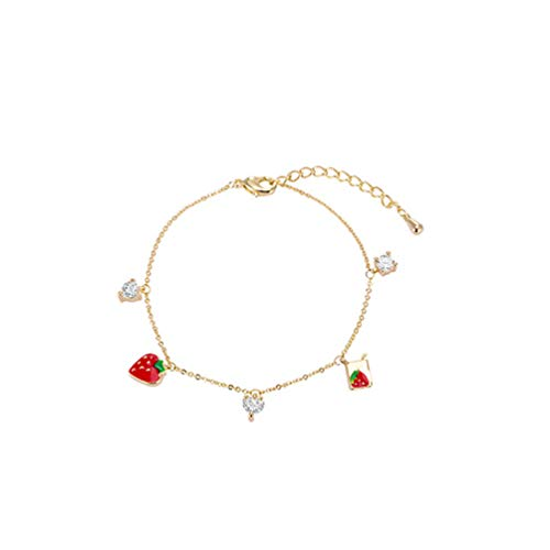Crystal Simulate Austrian - Eightgo Women Strawberry Pendant Crystal Bracelet for Mother Day Birthday Gift Fruit Charm Chain
