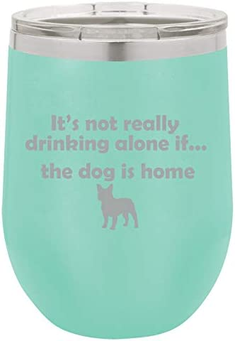 12 oz Double Wall Vacuum Insulated Stainless Steel Stemless Wine Tumbler Glass Coffee Travel Mug With Lid Funny Drinking Alone Dog Frenchie French Bulldog (Teal)