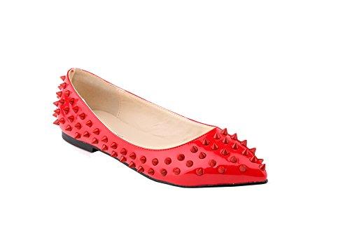 Loslandifen Kvinna Faux Läder Pu Patent Nitar Balett Platt Röda