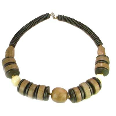 [Chunky Carved Bone Black Wooden Bead Necklace] (Chunky Wooden Beads)