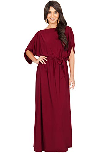 KOH KOH Petite Womens Long Flowy Casual Short Half Sleeve with Sleeves Fall Winter Floor Length Evening Modest A-line Formal Maternity Gown Gowns Maxi Dress Dresses, Crimson Dark Red S 4-6