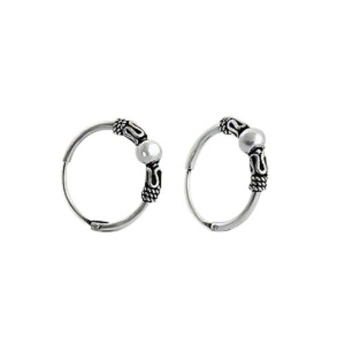 Bali Tribal Ball Wrap Sterling Silver Small Endless Hoop Earrings 0.55 IN (14mm)