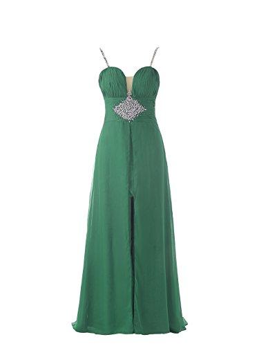JAEDEN rebordeado Tiras de espagueti gasa Largo Formal Vestido de fiesta de graduaci¨®n Vestidos de noche Verde
