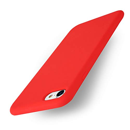 Yajuhoy iPhone 7 & iPhone 8 case,Liquid Silicone Gel Rubber Slim Fit Soft Mobile Phone Case with Microfiber Cloth Lining Cushion Compatible with Apple iPhone 7 (2016) / iPhone 8 (2017) - Red