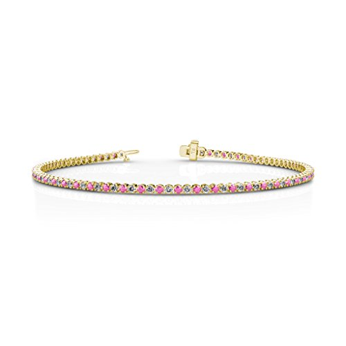 Pink Sapphire and Diamond 1.7mm (SI2-I1-Clarity, G-H-Color) Tennis Bracelet 1.35 cttw in 14K Yellow Gold