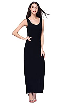 HIKA Women's Fashion Sleeveless Casual Long Maxi Tank Dress